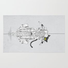 Cat Chicken Motorcycle Art Print Rug