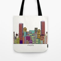 miami Tote Bags featuring Miami by bri.buckley