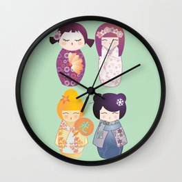 Kokeshis four seasons Wall Clock