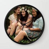 fairies Wall Clocks featuring Forest Fairies by Frances Dierken