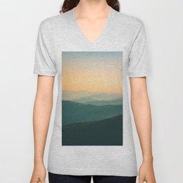 Landscape Photography Teal Turquoise Green Parallax Mountains Hills Orange Sunset Sky Minimalist Pho Unisex V-Neck