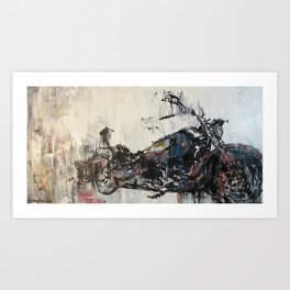 Dreams of the Open Road (vintage motorcycle painting)  Art Print