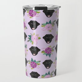 Black lab florals labrador retriever dog breed pet friendly pattern flowers bouquet Travel Mug