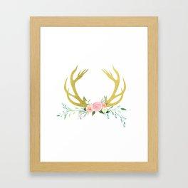 Gold Floral Antlers Framed Art Print