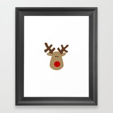 Christmas Reindeer-White Framed Art Print
