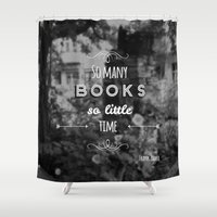 zappa Shower Curtains featuring So many books, so little time by Jane Mathieu