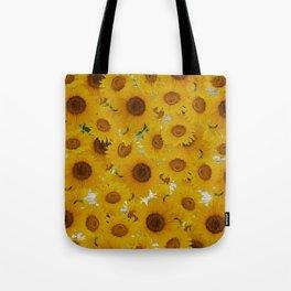 Rustic gray wood orange yellow sunflowers Tote Bag