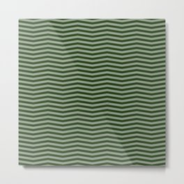 Dark Forest Green Chevron Zigzag Stripes Metal Print