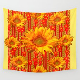 Yellow Sunflower On Red & Orange Patterns Wall Tapestry
