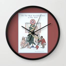 Team Cap Naughty Pinup Holiday Card Wall Clock