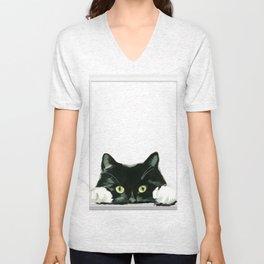 Black Cat looking out in Frame Unisex V-Neck