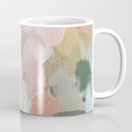 Forest Green Fuchsia Blush Pink Abstract Flower Spring Painting Art Coffee Mug