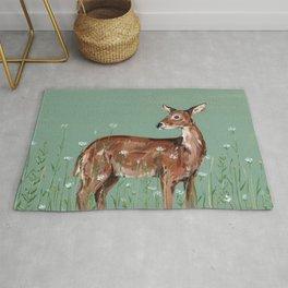 Deer in Wildflower Field Rug