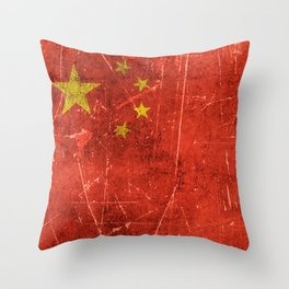 Vintage Aged and Scratched Chinese Flag Throw Pillow