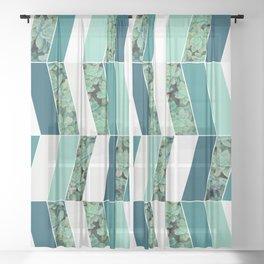 Teal Herringbone #society6 #teal #succulent Sheer Curtain