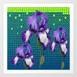 PURPLE IRIS TEAL OPTICAL ART PATTERNS Art Print