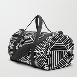 Ab Lines Black on White Duffle Bag