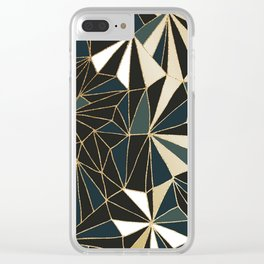New Art Deco Geometric Pattern - Emerald green and Gold Clear iPhone Case