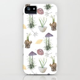 Mushrooms, spurge, horsetail, lily of the valley, leaves. iPhone Case