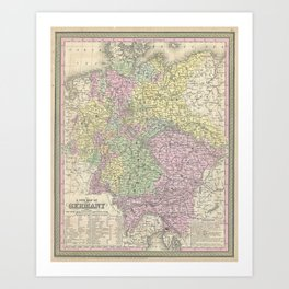 Vintage Map of Germany (1853)  Art Print
