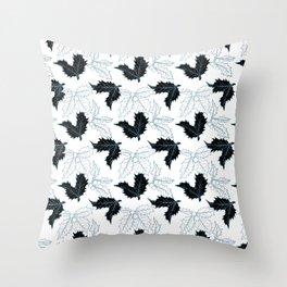 Holly Sprigs (Silver Calico) - White Throw Pillow