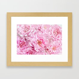 Elegant Abstract Watercolor Pink Peonies Framed Art Print