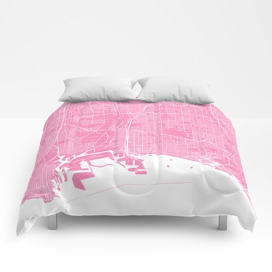 Long Beach map pink Comforters
