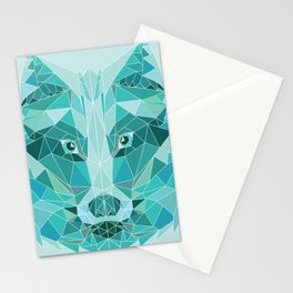 Green Emerald Wolf Stationery Cards