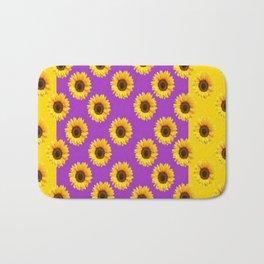 Golden & Purple Yellow Sunflowers Pattern Art Bath Mat