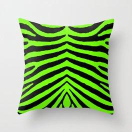 Black and Neon Green Tropical Zebra Animal Stripes Throw Pillow
