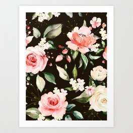 Pink & White Roses On Black Background Watercolor Painting Floral Pattern Art Print