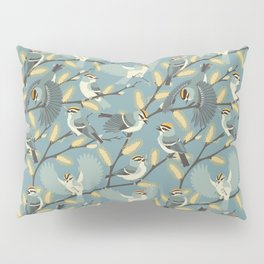 Golden-crowned Kinglets in a Pussy Willow (Dawn) Pillow Sham