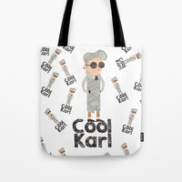karl Tote Bags featuring cool karl by sofiefatale