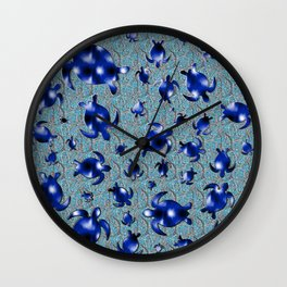 Shiny blue turtle shapes Wall Clock