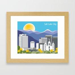 Salt Lake City, Utah - Skyline Illustration by Loose Petals Framed Art Print