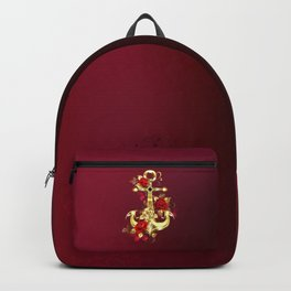 Golden Anchor with Roses Backpack