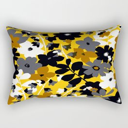 SUNFLOWER TOILE YELLOW GOLD BLACK GRAY AND WHITE Rectangular Pillow