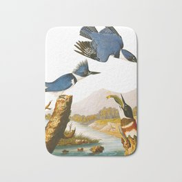 Belted Kingfisher John James Audubon Vintage Scientific Illustration American Birds Bath Mat
