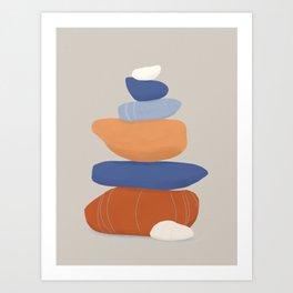 stone pile: orange & blue Art Print