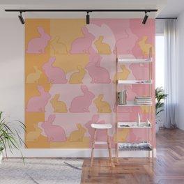 Hunny Bunny - Pastel Pink Yellow Rabbits Design Wall Mural