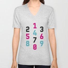 Typography Numbers #1 Unisex V-Neck