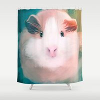 guinea pig Shower Curtains featuring A Guinea Pig's Love by Sarah Sangelus