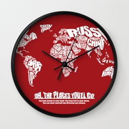 Oh The Places You'll Go - World Word Map with Dr. Seuss Quote Wall Clock