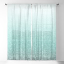 Faded teal blue and white swirls doodles Sheer Curtain