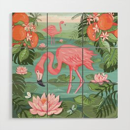Flamingo and Waterlily Wood Wall Art