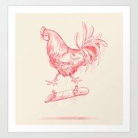 cock Art Prints featuring Cock Flip by Sarah Kamada
