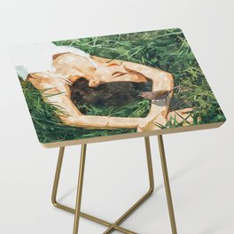 Jungle Vacay #painting #portrait Side Table