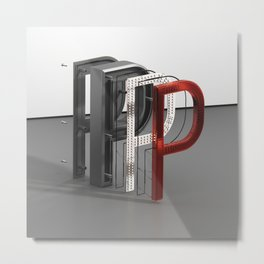 Letter P Button Metal Print