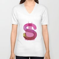 batgirl V-neck T-shirts featuring batgirl by Hiena Illustration