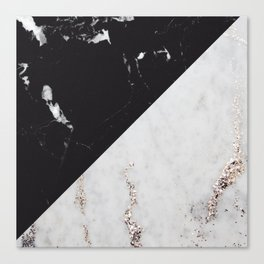 Black Marble Meets White Glitter Marble #1 #decor #art #society6 Canvas Print
